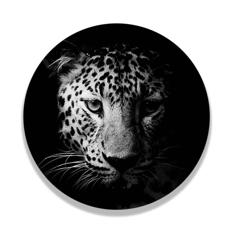 Wandcirkel Zwart Wit Luipaard