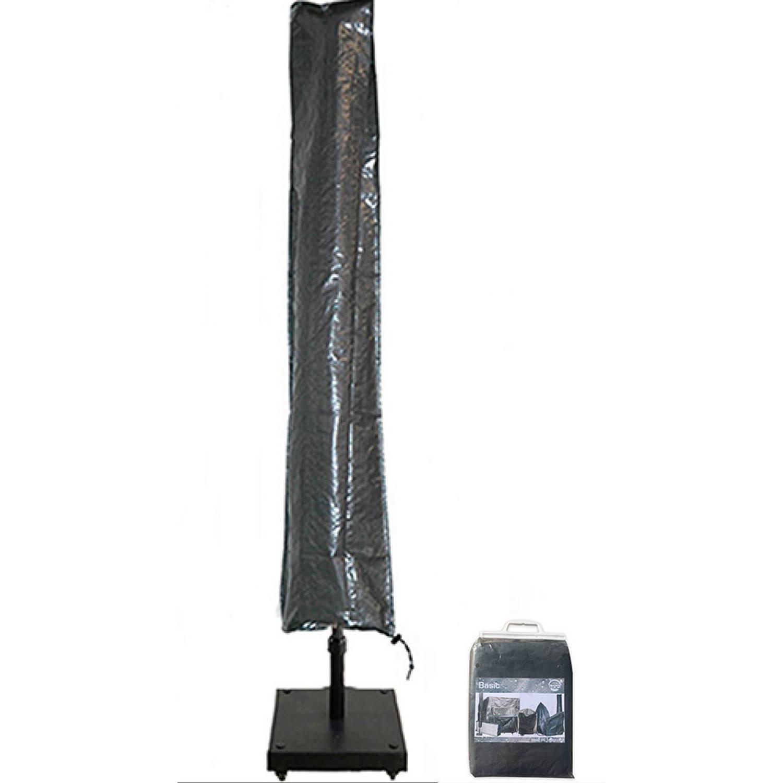 Basic Zweefparasolhoes Met Stok En Rits 210 Cm.beschermhoes Parasol Afdekhoes Parasol Met Rits En Stok Zwart 210x45