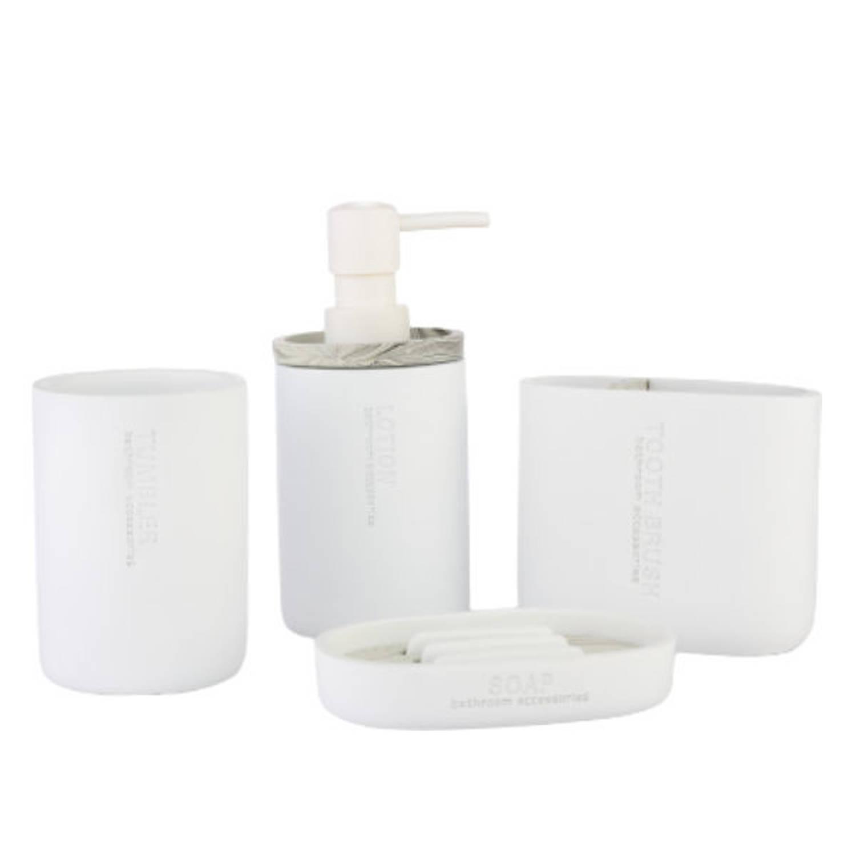 Luxe 4 Delige Badkamer Toilet Accessoires Set Kunsstof Badkamerset Blokker