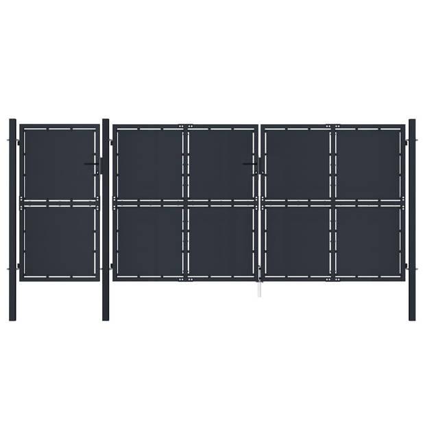 vidaXL Poort 4x2,5 m metaal antraciet