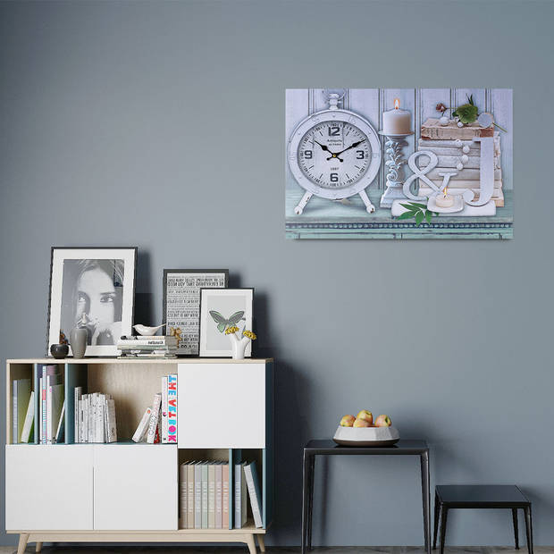 XL Canvas Schilderij Wandklok CLOCK CANDLES en BOOKS met Klok - Wand