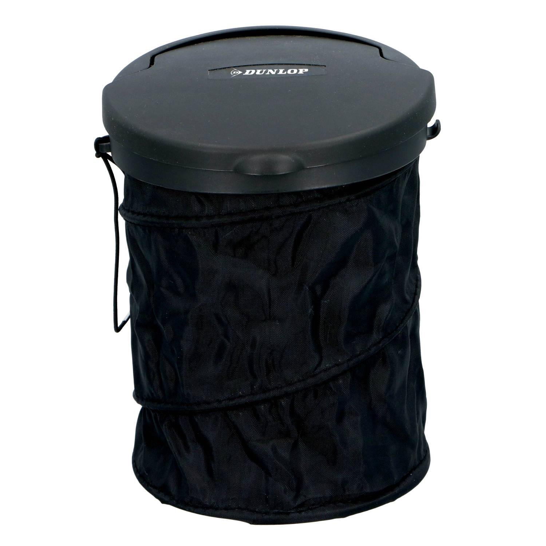 Dunlop Auto-afvalbak - Opvouwbaar - Ø 16 Cm - Met Deksel - Voor Aan Het Dashboard Of Op De Vloer