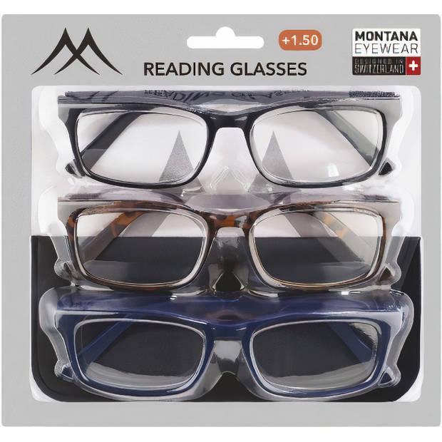 Montana leesbrillenset 3PR73M kunststof sterkte +2.00 3 stuks