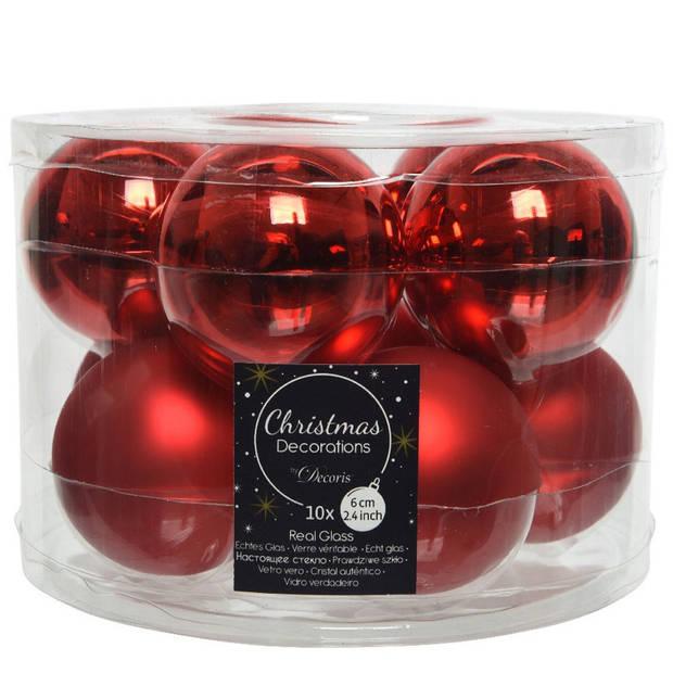 10x Kerst rode glazen kerstballen 6 cm - glans en mat - Glans/glanzende - Kerstboomversiering kerst rood
