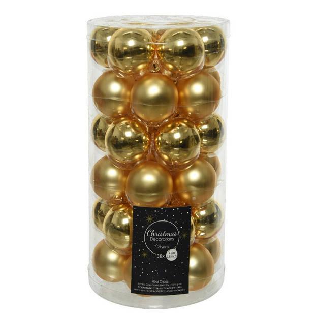 36x Gouden kleine glazen kerstballen 4 cm mat en glans - Kerstversiering/boomversiering goud