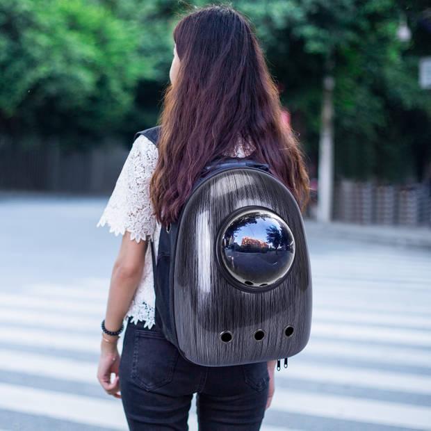 Nobleza Rugzak voor huisdieren - Transport tas - Dieren draagtas - B32 x L29 x H42 cm - Zwart/Grijs