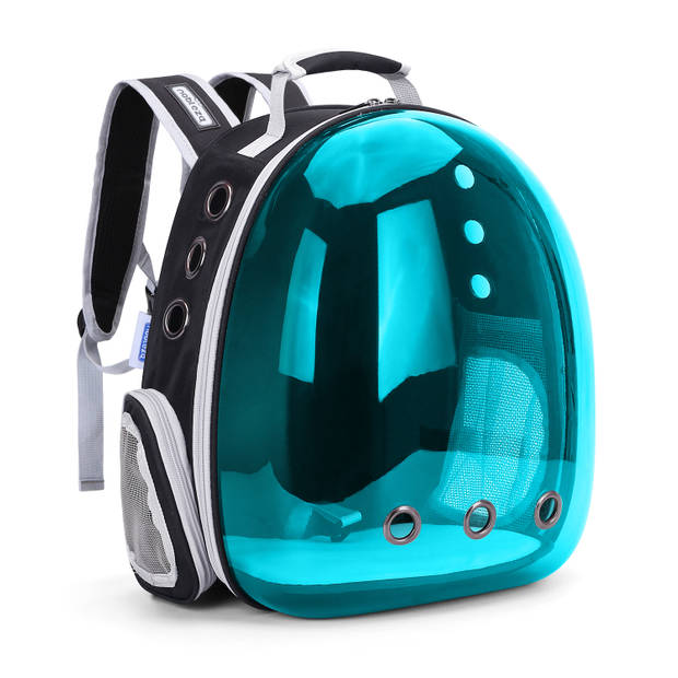 Nobleza Rugzak voor huisdieren - Transport tas - Dieren draagtas - B31 x L26 x H40 cm - Transparant/Blauw