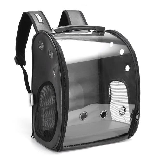 Nobleza Rugzak voor huisdieren - Transport tas - Dieren draagtas - L23 x B33 x H37 cm - Transparant/Zwart