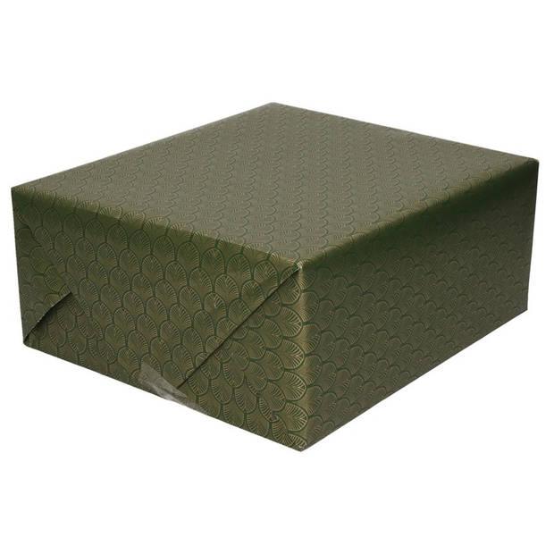 2x Inpakpapier/cadeaupapier groen/gouden Art Deco print 150 x 70 cm - Cadeauverpakking kadopapier