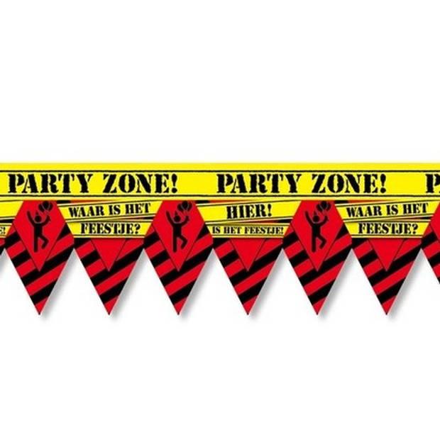 Waar is dat feestje party tape/markeerlint waarschuwing 12 meter - Feest afzetlinten/markeerlinten feestartikelen