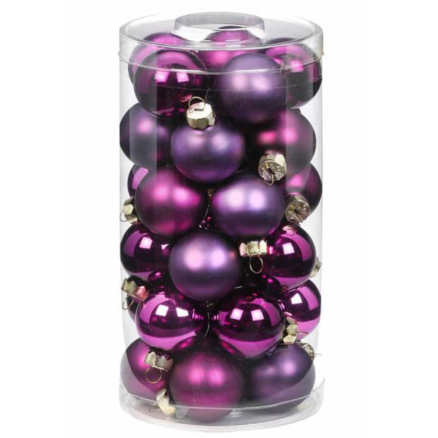 30x Paarse kleine glazen kerstballen 4 cm glans en mat - Kerstboomversiering paars