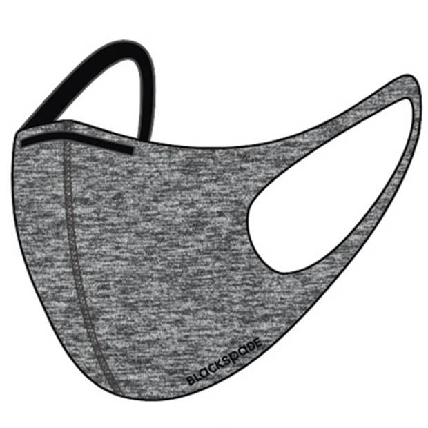 Blackspade Uniseks wasbaar mondkapje volwassenen - Herbruikbaar, stretch katoen - Grijs - Medium