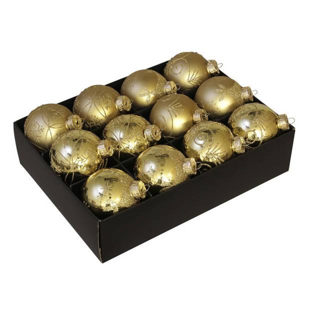12x Glazen gedecoreerde gouden kerstballen 7,5 cm - Luxe glazen kerstballen - kerstversiering goud