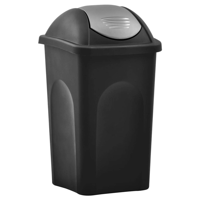 Vidaxl Vuilnisbak Met Schommeldeksel 60 L Zwart En Zilverkleurig