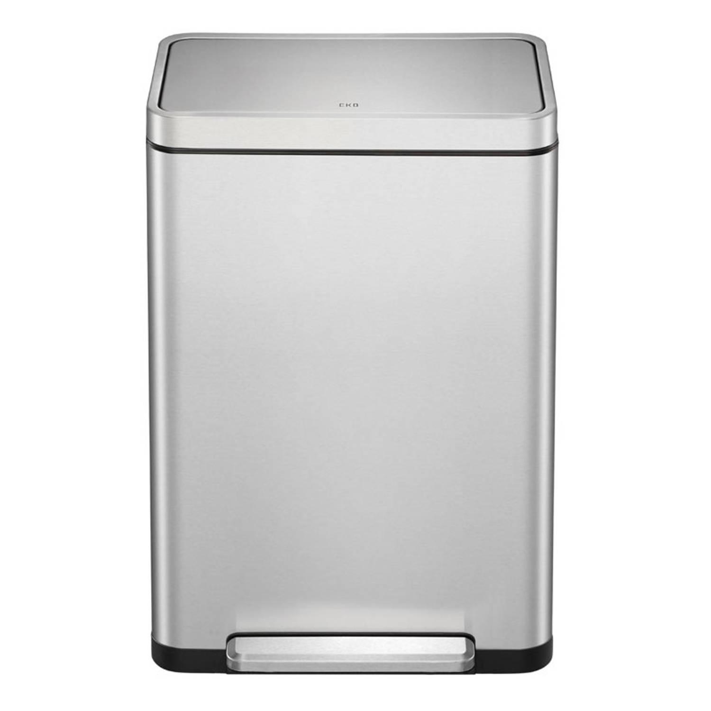 Eko Pedaalemmer X-cube Afvalscheider 20+20 Liter Rvs Matzilver