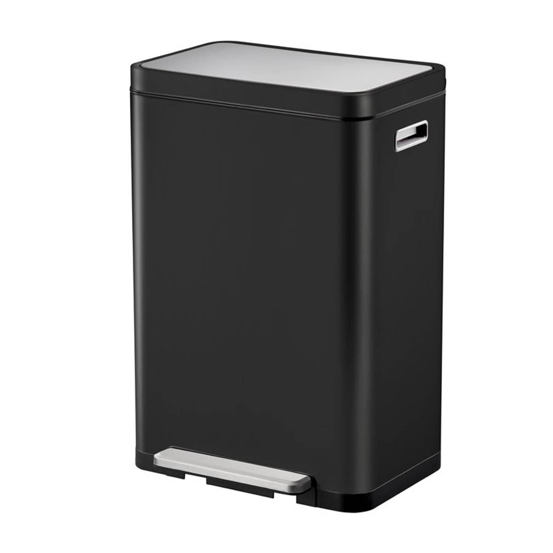 Eko Pedaalemmer X-cube Afvalscheider 20+20 Liter Rvs Zwart