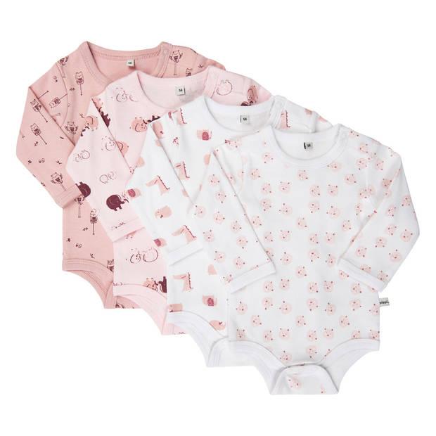 Pippi rompers lange mouw meisjes katoen roze 4 stuks maat 74