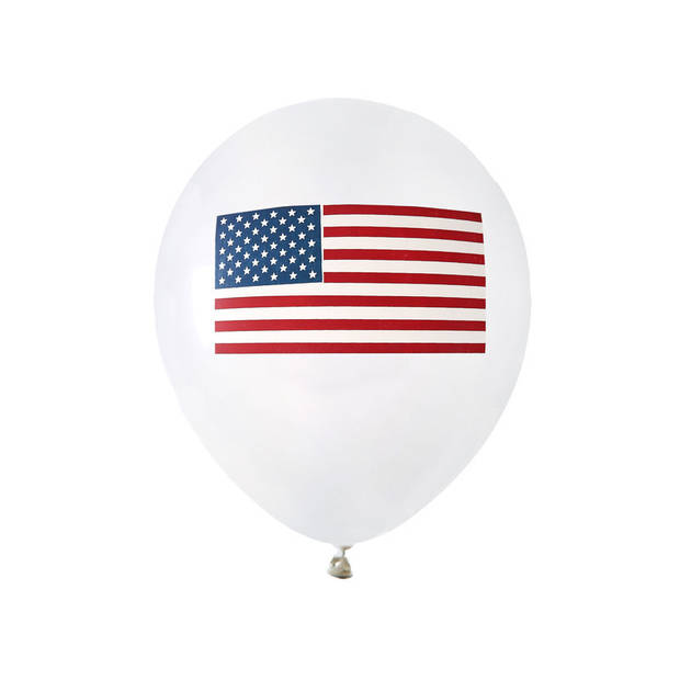 8x Ballonnen Amerika/USA thema feest 23 cm - Amerikaanse vlag themafeestje versieringen/decoraties - Feestartikelen