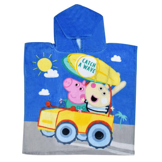 Nickelodeon badponcho Cruisin Peppa Pig 100 cm katoen blauw