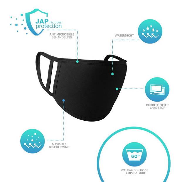 JAP Mondkapje - Europese Productie - Wasbaar - Fijn ademen - Zwart