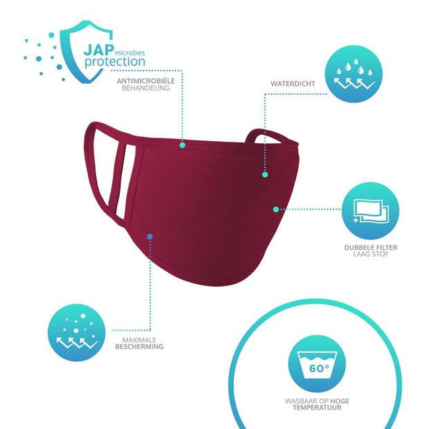 JAP Mondkapje - Europese Productie - Wasbaar - Fijn ademen - Burundy