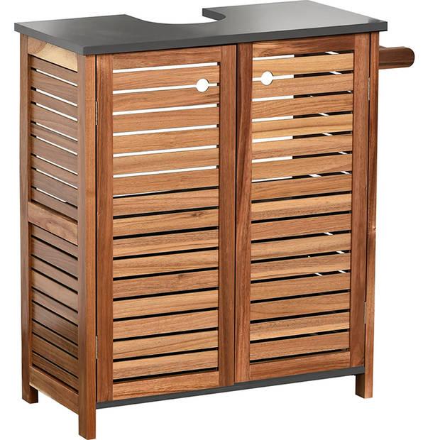 4Goodz Acaciahout wastafel onderkast met 2 deuren en 1 plank - Bruin