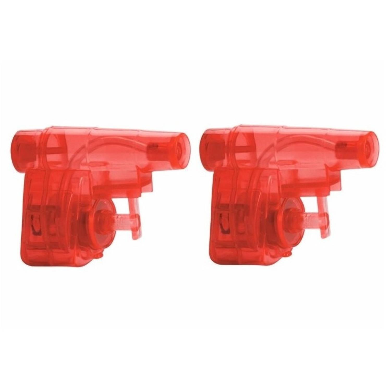 Korting 2x Stuks Mini Rode Waterpistolen 5 Cm Waterpret Kunststof Waterspeelgoed