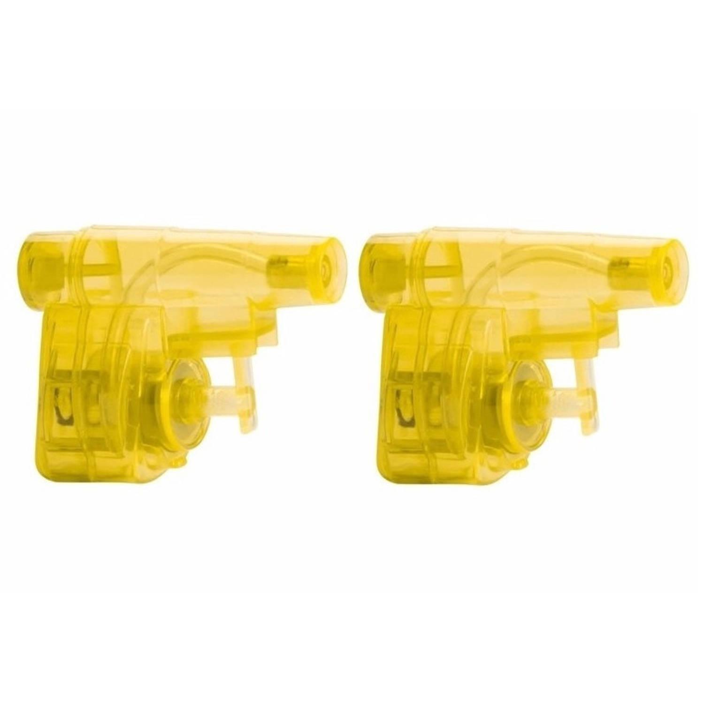 Korting 2x Stuks Mini Gele Waterpistolen 5 Cm Waterpret Kunststof Waterspeelgoed