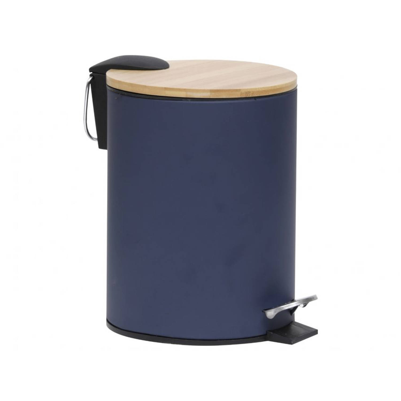 Gebor - Stijlvolle Design Prullenbak Met Bamboe Deksel - Blauw/bamboe - Klein Formaat - 2.5l - Badka