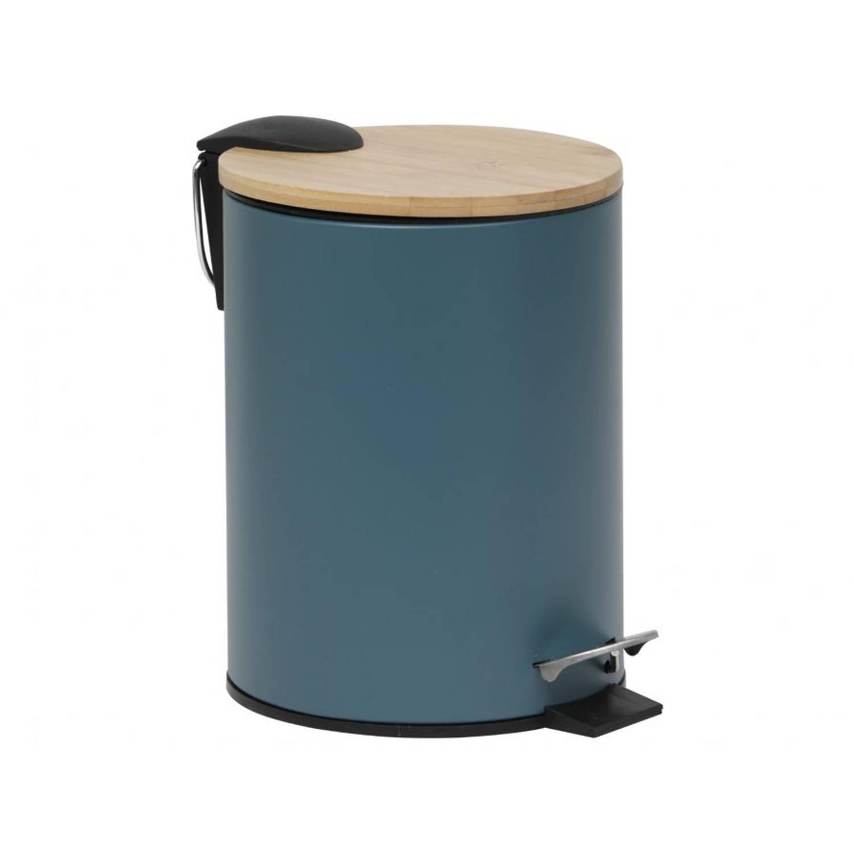 Gebor - Stijlvolle Design Prullenbak Met Bamboe Deksel - Imperial Groen/bamboe - Klein Formaat - 2.5