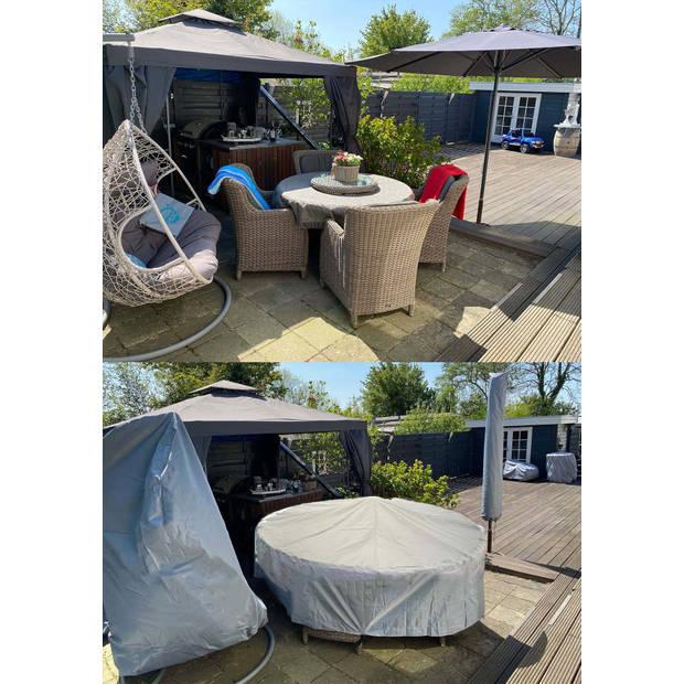 CUHOC - Diamond hoes tuinmeubelen- 300x200x80 cm - tuinset beschermhoes waterdicht met Stormbanden, Trekkoord en