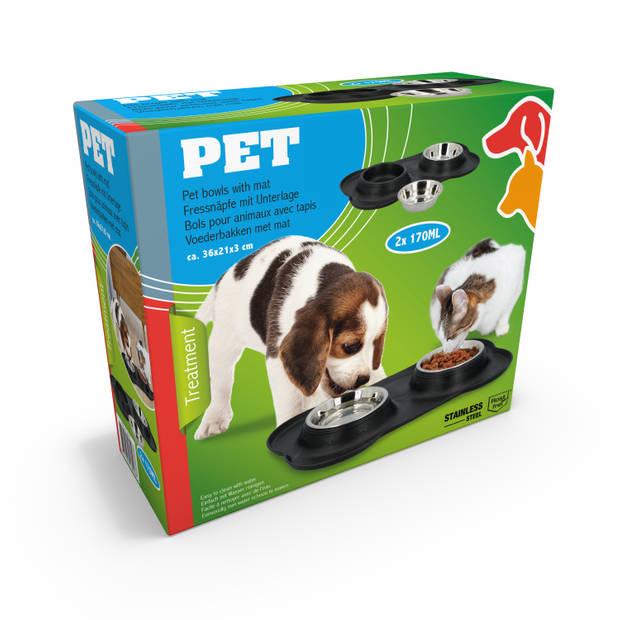 Pet Treatment - Voerbakken voor Huisdier met Onderlegger - 2 x 170 Milliliter - RVS en Kunststof
