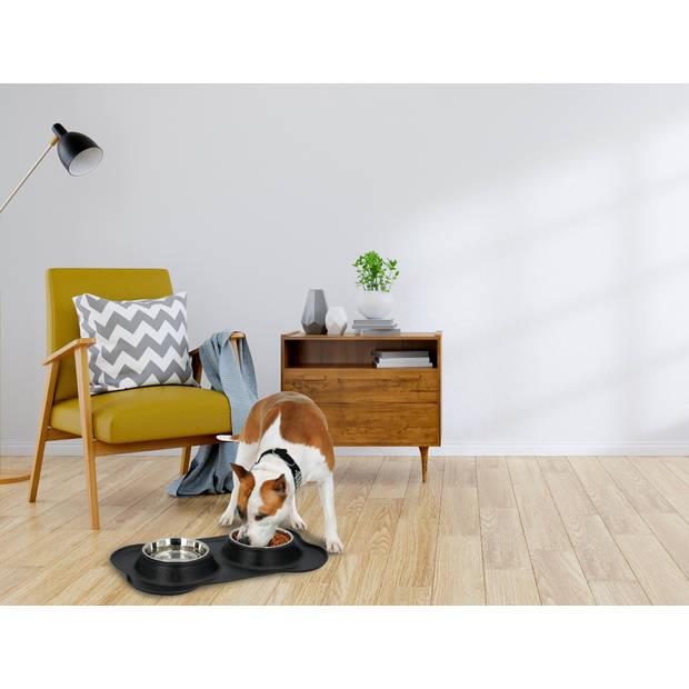 Pet Treatment Voerbakken voor Huisdier met Plateau - Etensbak - Hond - RVS - Large