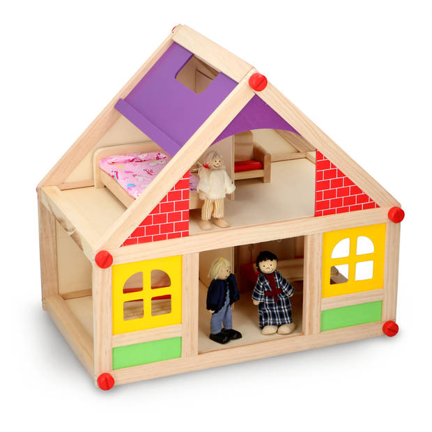 Marionette Wooden Toys - Wooden Dollhouse Incl.  Furniture and Dolls - 11 pieces