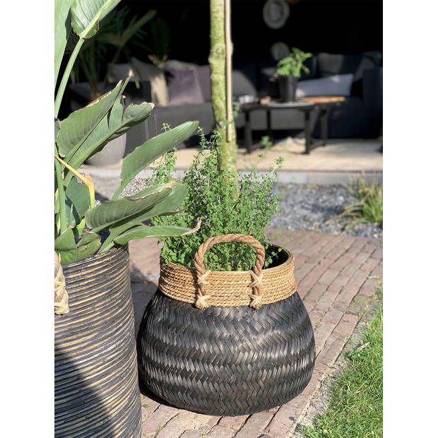 Basket Bamboo Black - (D)58 x (H)40 cm