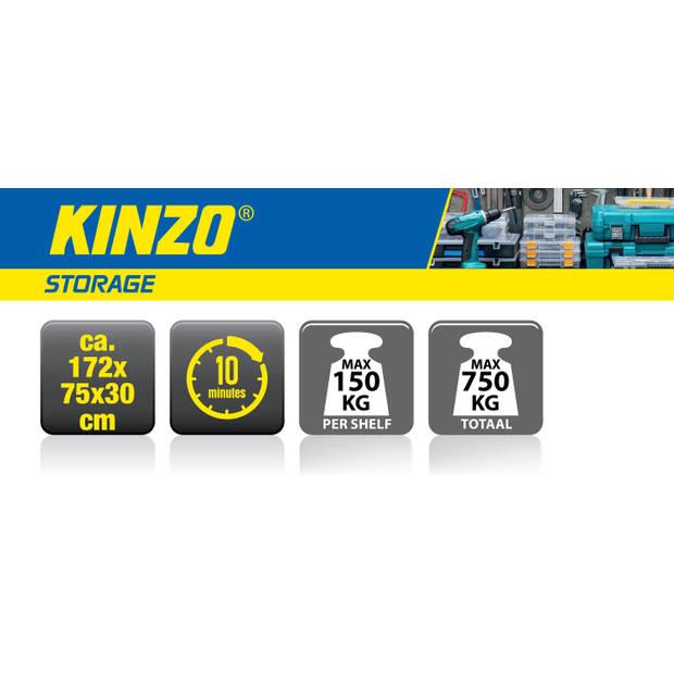 Kinzo Opbergrek - Stellingkast - 5 Legplanken - Heavy Duty - Max. 750 Kilo - Geen Schroeven - MDF