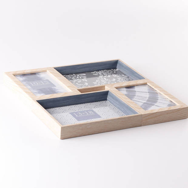 ZEP - Multi Kunststoffen Fotolijst Riviera bruin / blauw voor foto's 2x 10x15 2x 13x18 afmeting 32,5x32,5 cm - LGB63