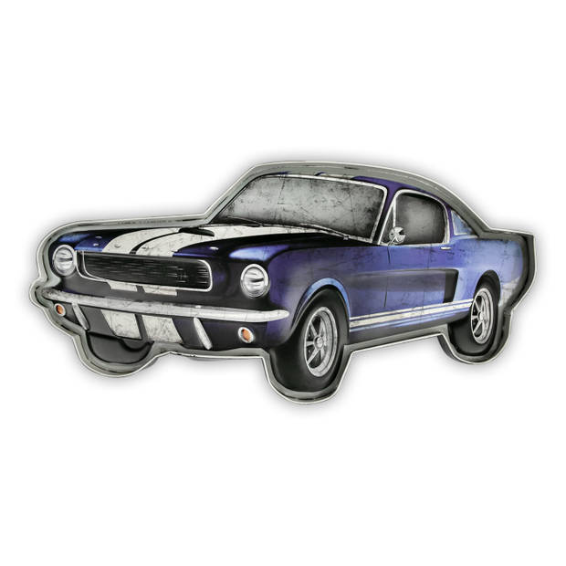 HAES deco - Retro Metalen Muurdecoratie - Turbo Car - Western Deco Vintage-Decoratie - 49,5 x 23,5 x 5 cm - WD737