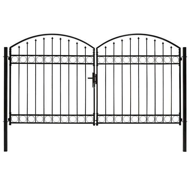 vidaXL Poort dubbel met gebogen bovenkant 300x175 cm staal zwart