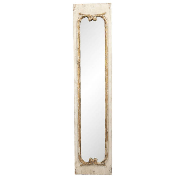 Clayre & Eef Wandspiegel 52S210 33*4*149 cm - Bruin Hout / glas Grote