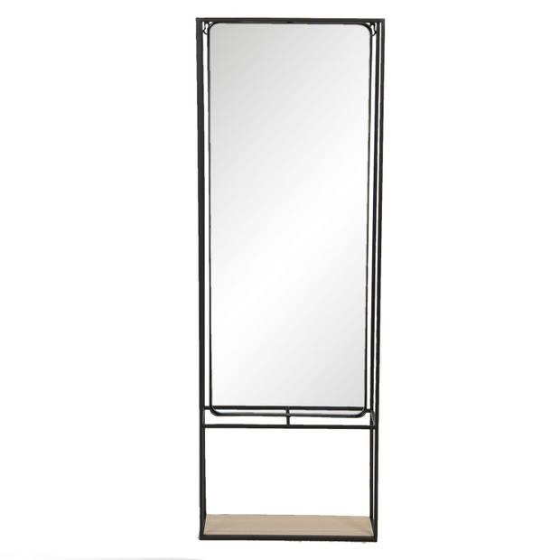 Clayre & Eef Wandspiegel 52S230 40*15*115 cm - Zwart Ijzer / glas /