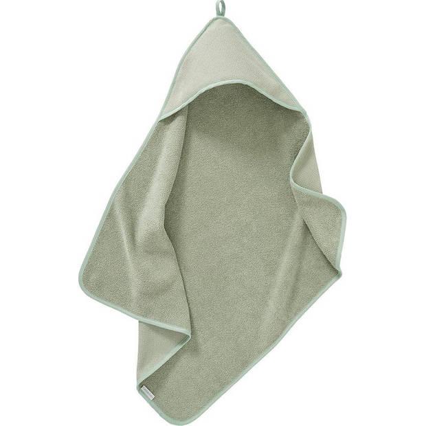 Cottonbaby badcape Diamantwafel junior 75 cm katoen matgroen