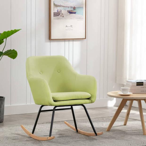 vidaXL Schommelstoel stof groen