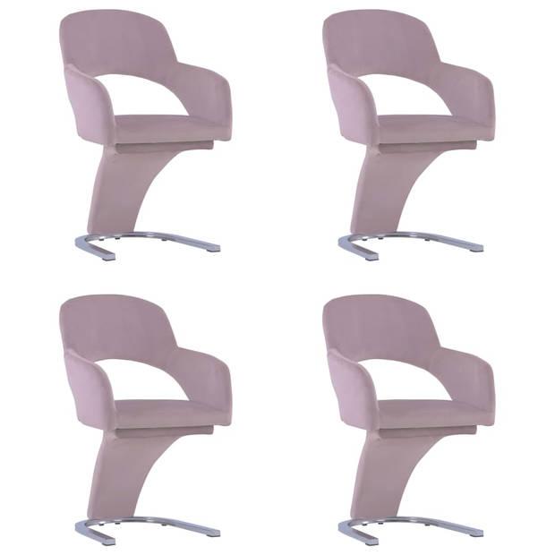 vidaXL Eetkamerstoelen 4 st fluweel roze