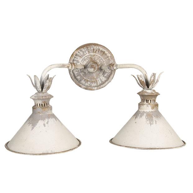 Clayre & Eef Wandlamp 6LMP683 56*30*33 cm - Wit Ijzer Muurlamp