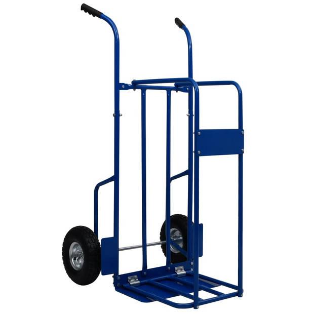 vidaXL Brandhoutkar 120 kg 63x70,5x119,5 cm staal blauw