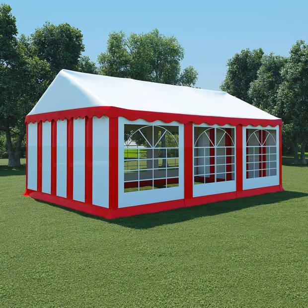 vidaXL Tuinpaviljoen 4x6 m PVC rood en wit