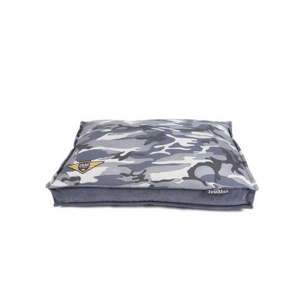 Lex & Max Hondenkussen Army Canvas Grijs - Boxbed - 90 x 65cm