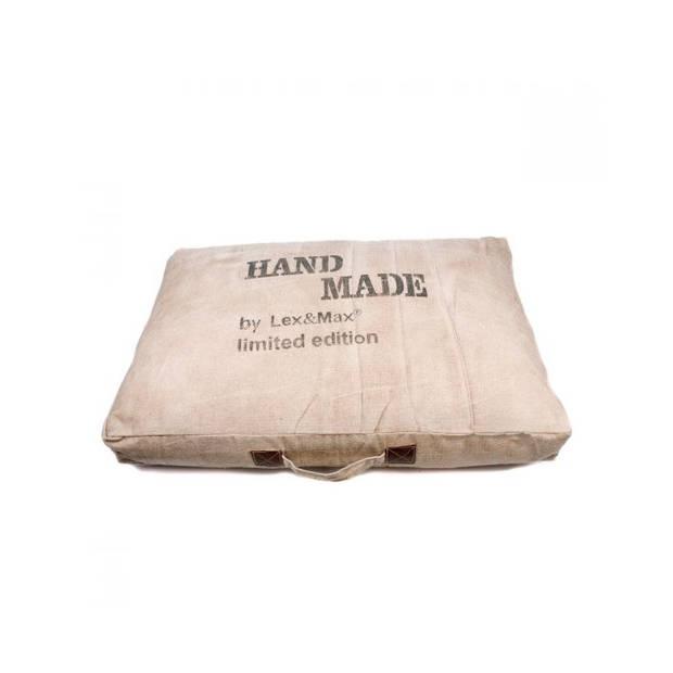 Lex & Max Hondenkussen Handmade Zand - Boxbed - 120 x 80cm - Kussenhoes
