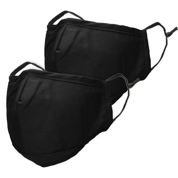 iMoshion 2-Pack Herbruikbaar, wasbaar mondkapje 3-laags katoen - Zwart
